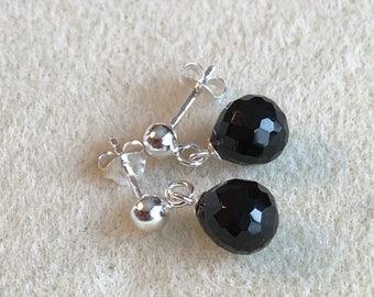 Faceted Black Onyx Briolette Earrings