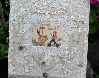 Mixed media collage using vintage lace and buttons