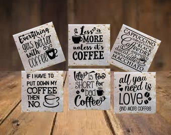 Coffee Coasters, Coffee Home Decor, Gifts for Coffee Lovers, Custom Coasters, Coffee Decor, Coffee Gifts, Housewarming Gift