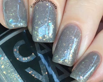 Iron Throne by CANVAS lacquer - a grey jelly loaded with various iridescent glitters