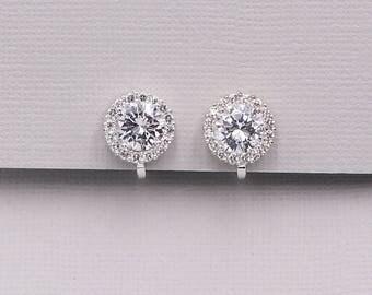 Clip on Earrings, CZ earrings, stud pave cubic zirconia earrings, clip on wedding jewelry, bridal jewelry, Ansley Clip on Earrings