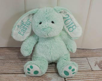 Personalized or First Easter Mint Green Easter Bunny with Name, Year, First Easter