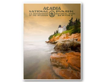 Acadia National Park Poster   National Park Postcard   National Park Art   WPA Poster   National Park Print