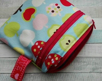Wet and Dry Bag, Cloth Pad Bag, Waterproof Bag, Reusable Bag, Cosmetic bag, Double wet bag, Makeup bag, apples colorfull