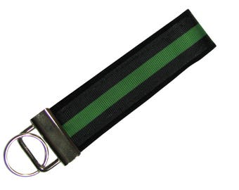 Personalized Key Chain / Key Fob Thin Green Line Border Patrol, Park Rangers, Game Wardens, Conservation, Military with Optional Initials