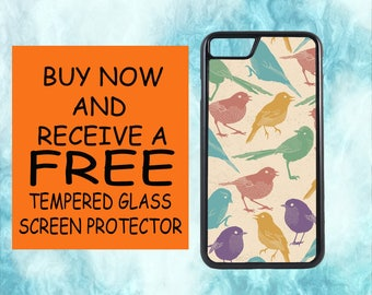 Colorful Bird Pattern With FREE Tempered Glass Screen Protector For iPhone 8 iPhone 8 Plus iPhone 7 iPhone 7 Plus iPhone X