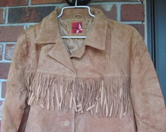 Marlboro  Atventure Team  - Brown  Suede Leather  Fringe  Jacket  - XL  - unused -