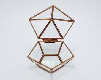 Glass ring box Wedding ring box Geometric glass box Bridesmaid gift Geometric jewelry box Cooper ring box Ring pillow Pentagon box
