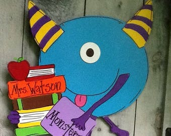 Teacher door hanger, classroom door hanger, school door hanger, school sign, monster sign, class sign, class door sign, teacher sign, school