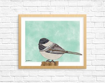 Cute black capped Chickadee bird watercolor ilustrated 8x10 wall art print
