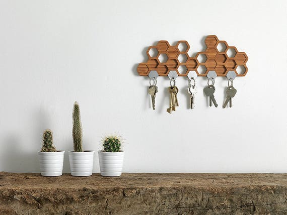 Unique Key Hooks honeycomb magnetic key holder a unique bamboo wall mounted