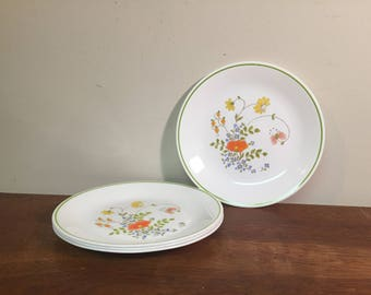 "Four Corelle Wildflowers 8.5"" Lunch / Salad Plates Pink, Yellow, Blue & Green Floral with Lime Green Stripe"