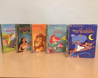 Five 1990s Walt Disney Little Golden Books - Aladdin 107-88, Lion King 107-93, Little Mermaid 105-85, Pocahontas 104-72, Winnie Pooh, Eeyore