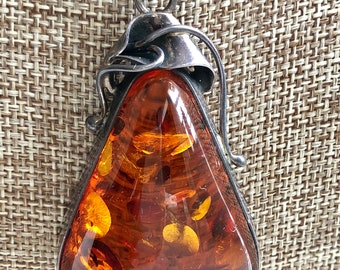 Genuine Baltic Amber Large Tear Drop Pendant