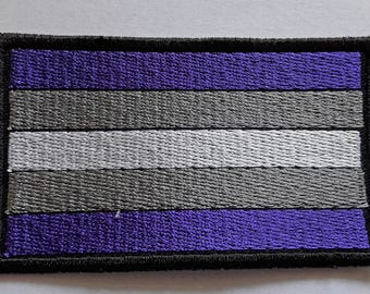 Grey-A Pride Flag embroidered patch