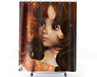 Big Eye Girl Brunette Retro 60's Look Home Decor Bathroom Shower Curtain