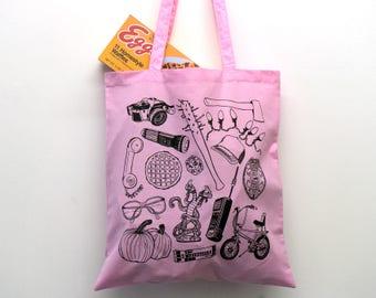 Stranger Things Pink Tote Bag, eleven, the upside down, shoulder bag, shopper, eggos, demogorgon