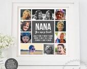 Photo Collage Grandkids, Grandparent Gift Personalised Grandchildren, Mothers Day Gift Nana Grandma Nanny Family Keepsake Print Wall Print