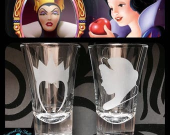 Personalised Snow White & Evil Queen Shot Glasses. Set of 2 ! Totally Unique Gift For Any Disney Fan!