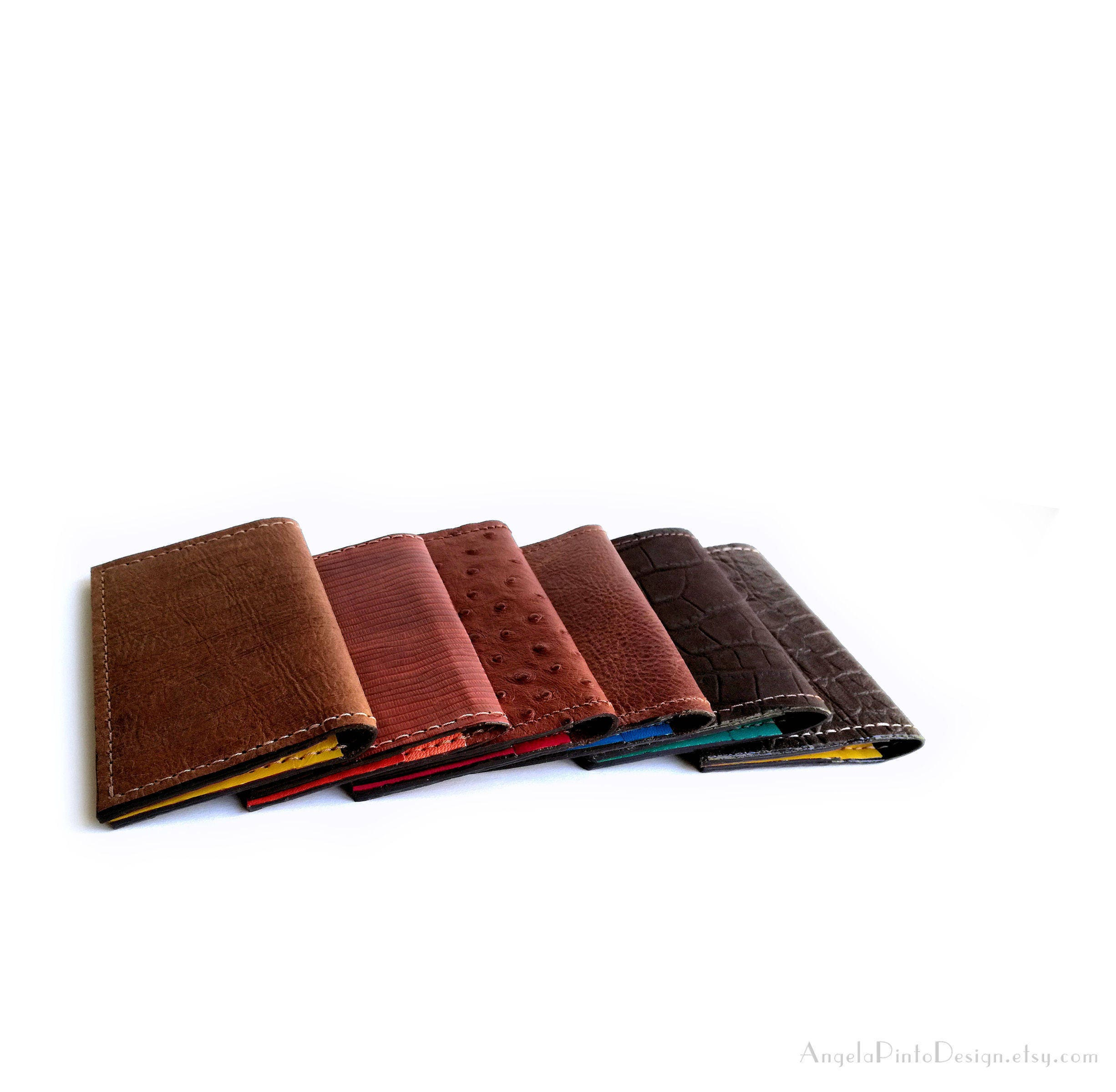 fa3a068348ae Leather card holder in brown and bright blue. Womens Card case. Mens Leather  Card