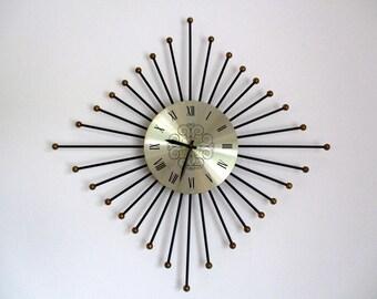 seth thomas sunburst clock starburst clock mid century clock retro clock sunburst
