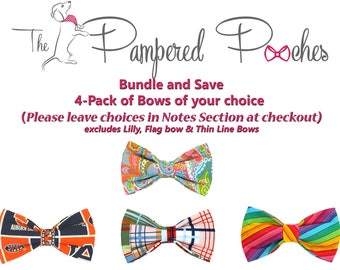 BUNDLE and SAVE 4Pack bow ties for dog/cat collars, patriotic, pet bow tie, collar bow tie, wedding bow tie