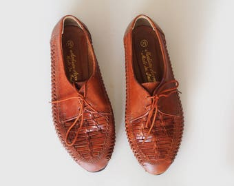 vintage woven leather oxfords