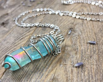 Aqua Aura Crystal Necklace Aura Quartz Crystal Necklace Christmas Gift for Her Raw Crystal Healing Crystals and Stones Wrapped Crystal