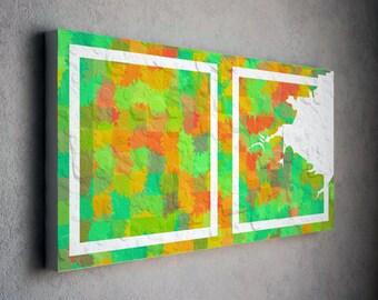 diptych green art, white frame, squares art, modern wall art, modern wall decor, large abstract art, large modern art