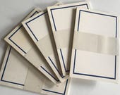 BLANK POSTCARDS Crane & Co. Blue Border Five Packages a 10 Cards NOS New Stock