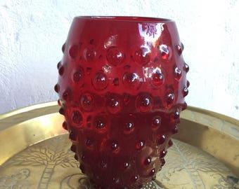 vase reliefs red glass balls vintage