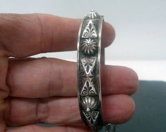 Old Berber Tribal Silver Cuff Bracelet // Morocco Silver Ethnic Bracelet // Vintage Tribal Jewelry
