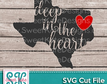 Texas Deep in the Heart SVG JPG PNG Scrapbook Die Cut Heat Transfer Vinyl htv Cricut Silhouette America usa United States Sweet Kate Designs