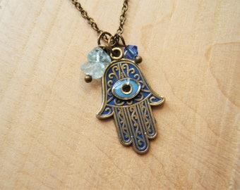 Hamsa hand necklace. Hand of Fatima. Blue Aquamarine beads.  Swarovski crystal. Handmade. Ethnic