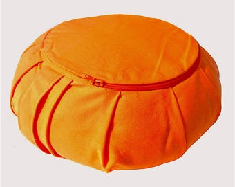 Sage Orange Round Zafu COVER Pleated - Sit comfortably - Organic Cotton Cover - Yoga Meditation