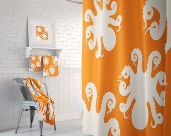 Octopus Shower Curtain ,Bathroom Set, Bath Mat, Towels (Optional) Orange