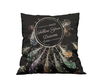Dreamcatcher Throw Pillow, Boho Chic, Follow Your Dreams Quote
