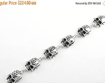 Anniversary SALE 925 Sterling Silver Skull Bracelet Made in USA