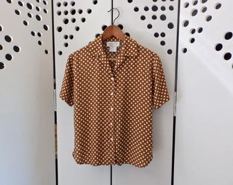 90s Brown/White Polka Dot Blouse - Size XS/S