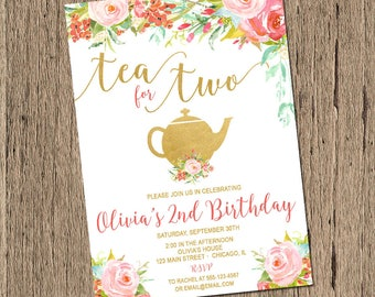 Tea For Two Birthday Invitation Party 2nd