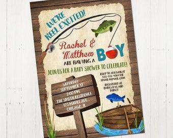 Fishing Baby Shower Invitation, Baby Shower Invitation Boy, Weu0027re Reel  Excited Invite