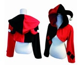 Harley Quinn inspired cosplay costume hoodie (shrug style), comic, comicbook, comiccon, jester, clown, gothic, punk, rave party, festival