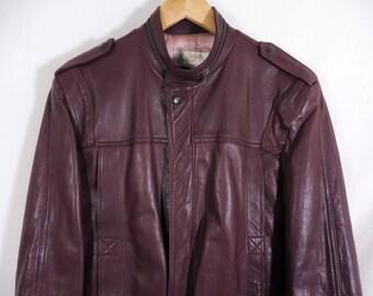 VTG 70s Maroon Leather Cafe Racer Motorcycle Jacket - Medium Womens - London Fog - Soft Leather Jacket - Moto Jacket - Vintage Clothing -