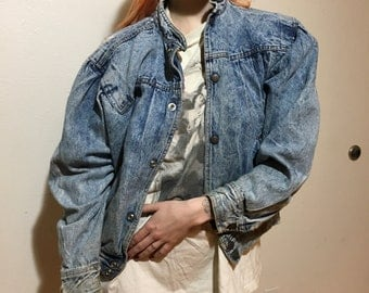 80s Denim Bomber Jacket - Small Womens - Distressed - Made in Brazil - Vintage Clothing - Baggy - 1980s - Fashion -