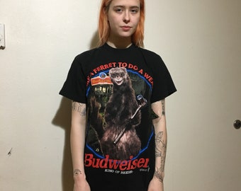VTG 1998 Budweiser T-Shirt - Small -  Vintage Tee - Vintage Clothing - Bud Shirt - Beer - 90s Clothing - Ferret -