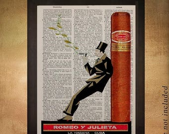 SALE-SHIPS Aug 22- Vintage Cigar poster printed on upcycled dictionary, Cigar Art Man Cave Decor Gifts for Men Fathers Day da922