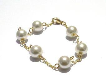 Bridal bracelet, gold bracelet, ivory bracelet, pearl bracelet, chunky bracelets, beaded bracelet, wedding bracelets
