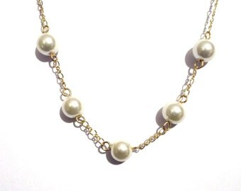 Bridal necklace,beaded necklace, Pearl gold chain necklace, pearl necklace, necklace, Ivory necklace,  beaded necklace, ivory pearl necklace