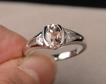 Natural Pink Morganite Engagement Ring Oval Cut Pink Gemstone Sterling Silver Ring Bezel Setting Ring