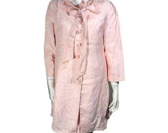 Alfred Werber Pink Dress / Housecoat / Dress Lace Set - Size 10 - Modern Size XS